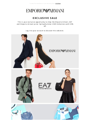 Armani - Exclusively for you: 50% off