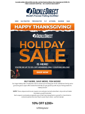 TackleDirect - 🦃 IT'S HERE! Our Holiday Sale is LIVE + Exclusive Coupons Up to 15% OFF