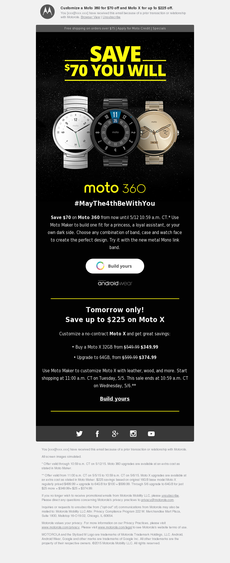 Customize a Moto 360 for $70 off and Moto X for up to $225 off. You [xxx@xx