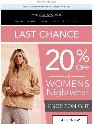 Peacocks (UK) - Last chance for 20% off Women's Nightwear 💤