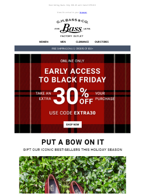 G.H. Bass & Co. - 🚨WOW! Extra 30% Off Your Entire Order