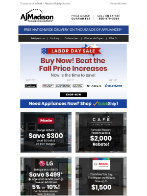 AJ Madison - Save now on top appliance brands during our Labor Day Sale!