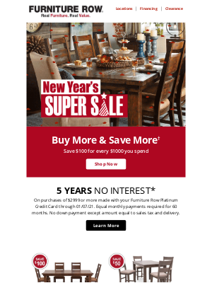 Furniture Row - Buy More & Save More | ON NOW