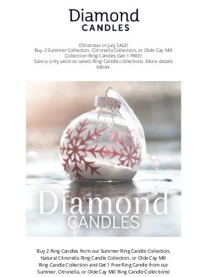 Diamond Candles - Christmas in July Sale - BUY 2 Get 1 FREE - You could Win a $100, $1,000, or $5,000 Ring!