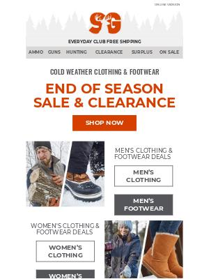 Sportsman's Guide - End of season = beginning of HUGE savings