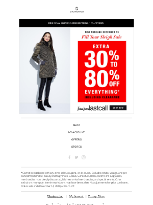 Get an extra 30%-80% off at Neiman Marcus Last Call!