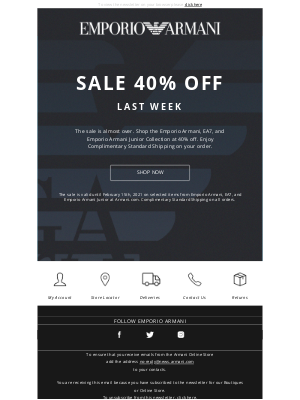 Armani - Final Week: Emporio Armani FW'20 Sale 40% Off