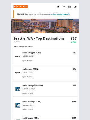 KAYAK - Prices going down for your flight from SEA to one of these top destinations