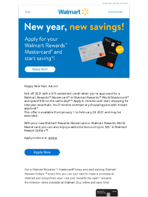 Walmart (CA) - Aaron, celebrate the New Year with $15 off**!