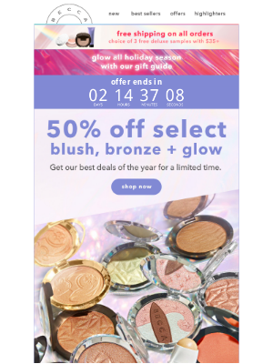 BECCA Cosmetics - Limited Time: 50% Off Blush, Bronze + Glow