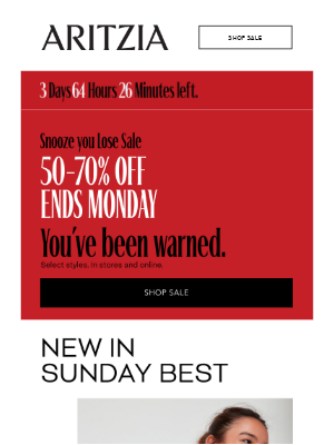 Ends Monday! 50-70% off