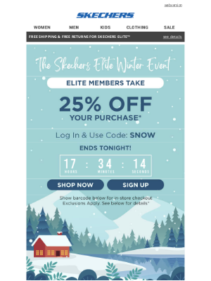 SKECHERS - Your 25% off Elite offer ends tonight