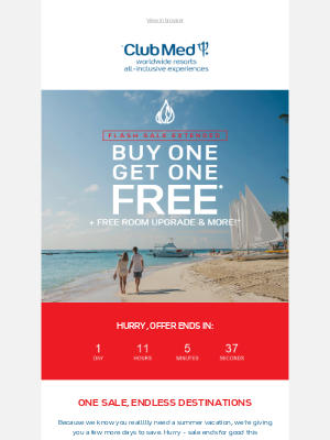 Club Med - OMG, Bonus Days! #BOGO Sale Extended