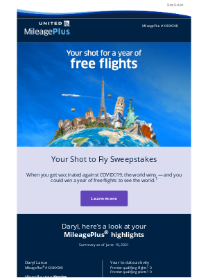United Airlines - June monthly statement: Win a year of free flights