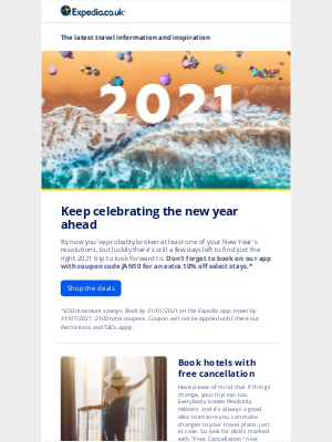 Expedia (UK) - Plan your spring adventures with the January sale