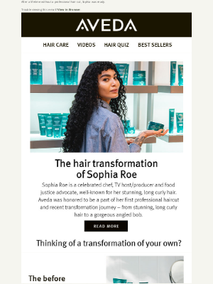 Aveda - The hair transformation of Sophia Roe