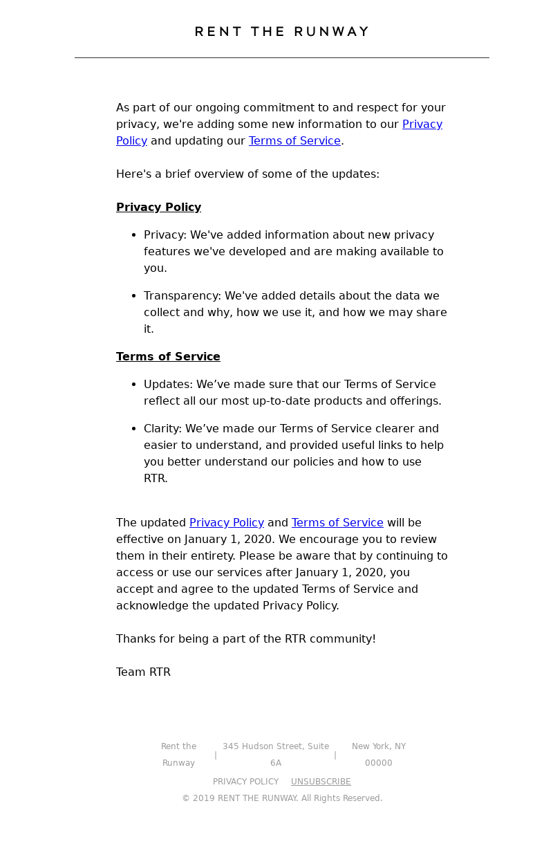 Rent the Runway - RTR Privacy Policy and Terms of Service Update