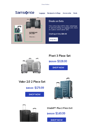 Samsonite - Sets Starting at Only $99.99