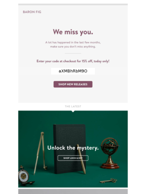 Win back email template from Baron Fig