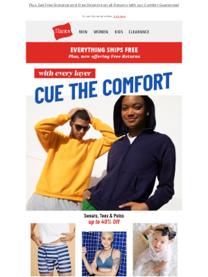 Hanes - Savings to Feel comfy all over and under