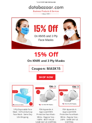 Databazaar - 15% Discount on KN95 & 3 Ply Masks | Limited Time Offer ⏰