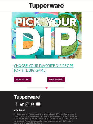 Tupperware - Have you picked your dip yet?