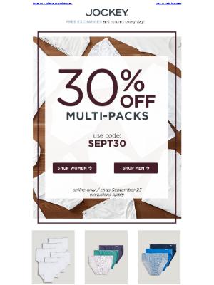 Jockey - More = Better! Save 30% on multi-packs