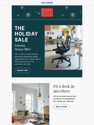 Design Within Reach - Holiday Sale: Upgrade your WFH setup