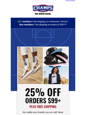 Champs Sports - Save 25% and get free shipping. Champs Madness is here! 🏀🏆💸