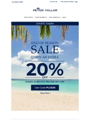 Starts Now: 20% Off Sale Items Already Priced 50% Off
