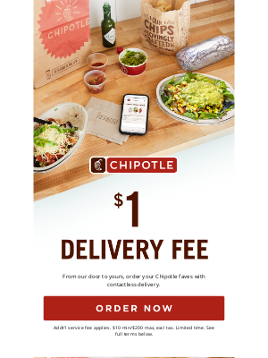 Chipotle Mexican Grill - Only $1 Delivery Fee on Chipotle 🚘🌯