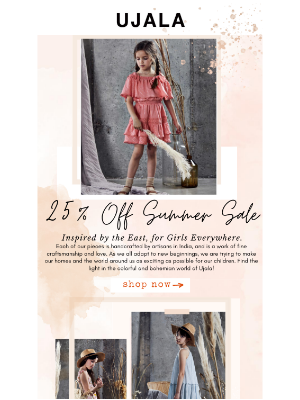 25% Off Girls Summer Collection