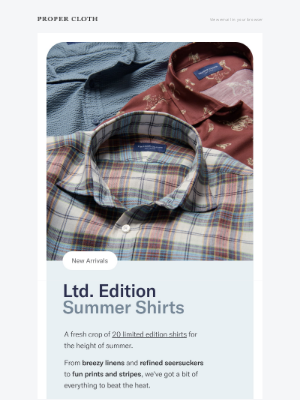 Proper Cloth - Just In: Limited Edition Summer Shirts // Don't Miss: Washed Indigo