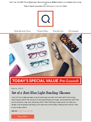 See Today's Special Value Pre-Launch: Set of 4 Anti Blue Light Reading Glasses