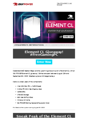 iBUYPOWER - iBUYPOWER PC GIVEAWAY! Element CL #FreeGamingPC 😱