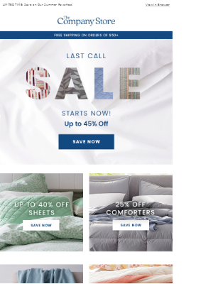 Up to 45% Off Last Call Sale STARTS NOW!