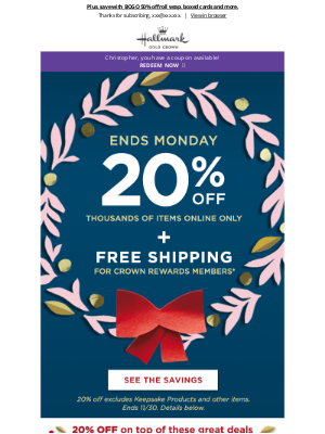 Hallmark - ENDS MONDAY! 20% off 1,000s of items