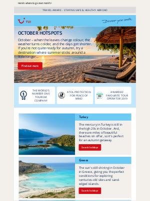 TUI (UK) - Wondering where's warm in October?