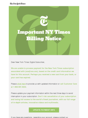 The New York Times -- Billing Inquiry