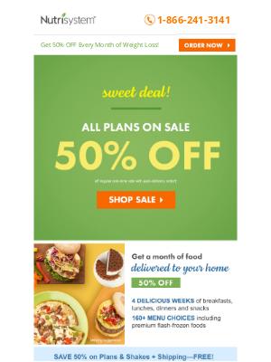 Nutrisystem - Unwrap Savings: 50% OFF All Plans!