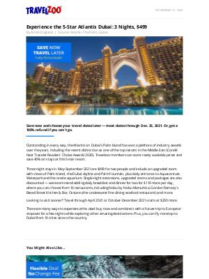 Travelzoo - Experience the 5-Star Atlantis Dubai: 3 Nights, $499