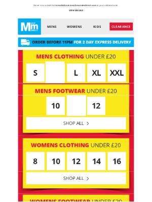 M and M Direct (UK) - Everything Under £20   Your size inside >
