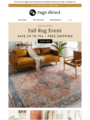 Rugs Direct - FALL RUG EVENT: Up To 75% Off Ends At Midnight!