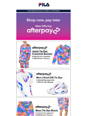 Fila Inc. - Get Colorful with Afterpay