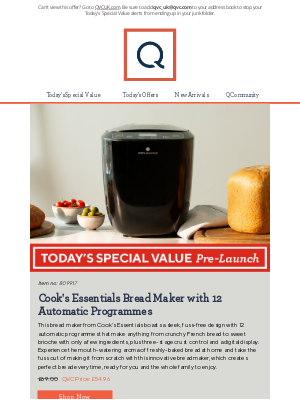 QVC (UK) - See Today's Special Value Pre-Launch: Cook's Essentials Bread Maker with 12 Automatic Programmes