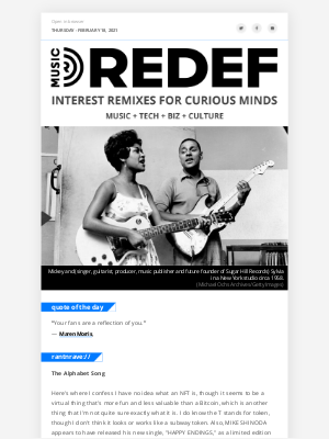 REDEF - jason hirschhorn's @MusicREDEF: 02/18/2021 - Mike Shinoda's Token Single, Black Women in Country, Pop Smoke, Madison Beer, Bootsy on Fela...