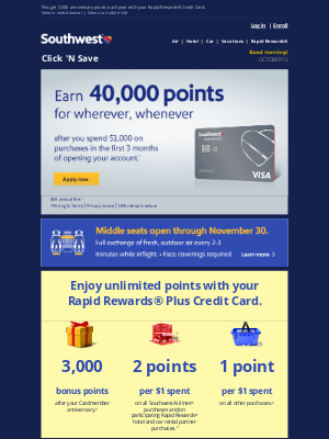 Southwest Airlines - Earn 40,000 points for wherever, whenever.