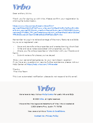 VRBO - Action needed: Activate your new Traveler account