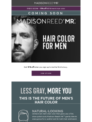 Don't miss out! 15% off men's hair color 👨