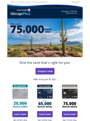 United Airlines - Exclusive - Offers up to 75,000 bonus miles